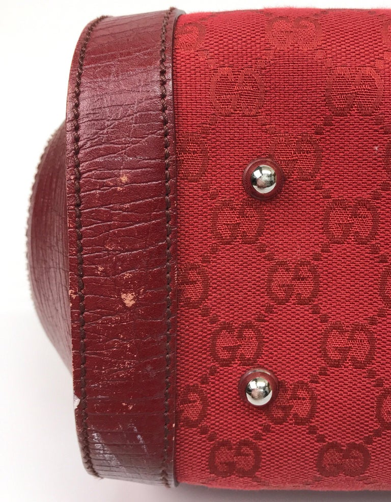 Gucci Red Monogram Leather Bamboo Bullet Handbag For Sale 1