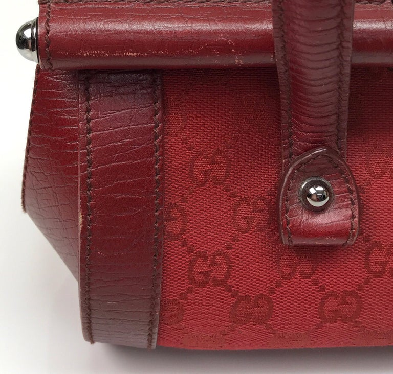 Gucci Red Monogram Leather Bamboo Bullet Handbag For Sale 3