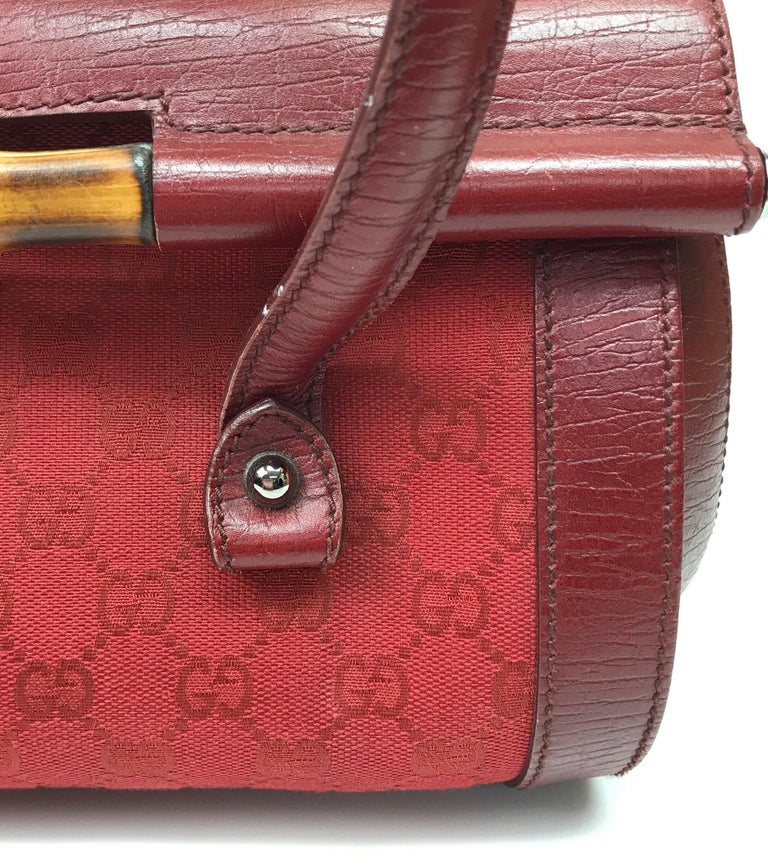 Gucci Red Monogram Leather Bamboo Bullet Handbag For Sale 5