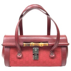 Gucci Red Monogram Leather Bamboo Bullet Handbag