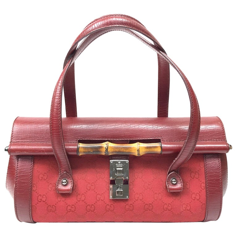 Gucci Red Monogram Leather Bamboo Bullet Handbag For Sale