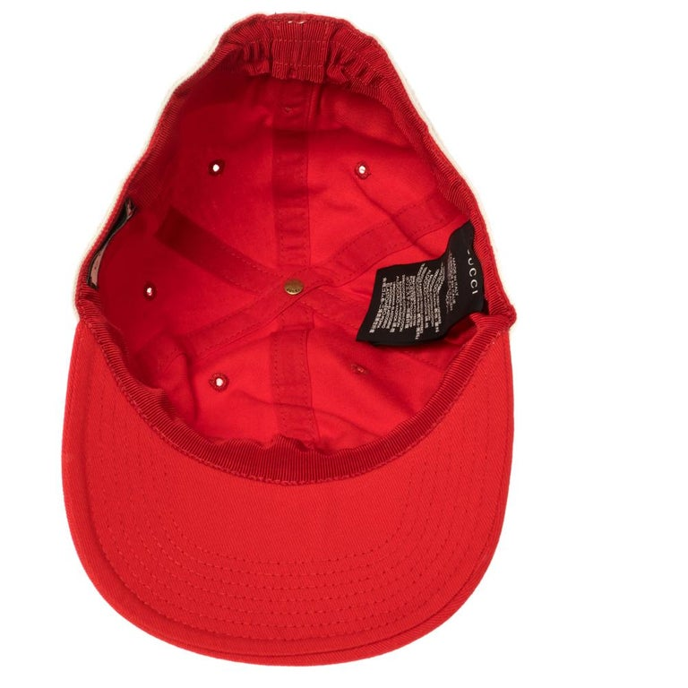 Women's Gucci Red/Off White Canvas Logo Band Baseball Cap M For Sale