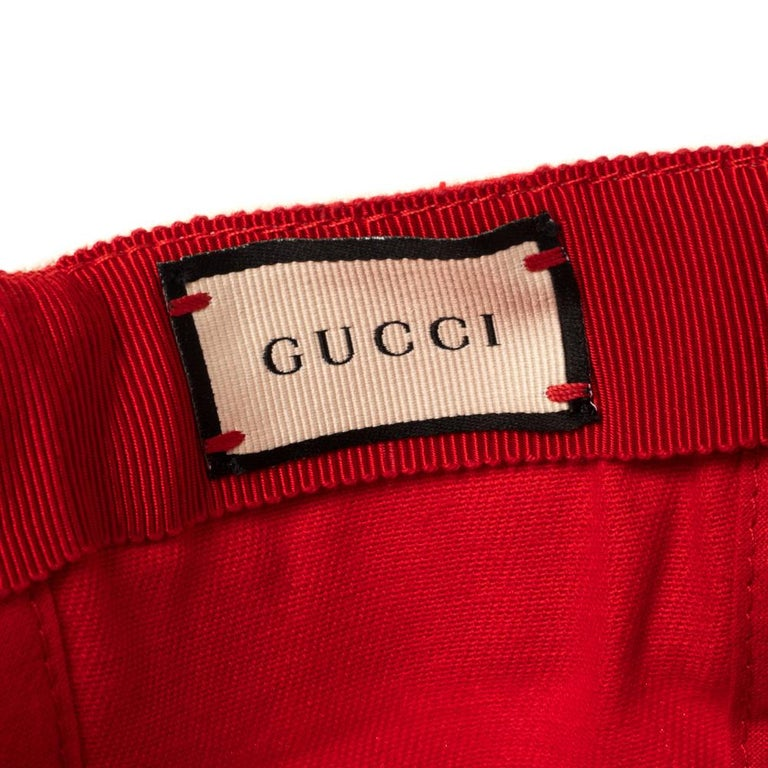 Gucci Red/Off White Canvas Logo Band Baseball Cap M For Sale 1