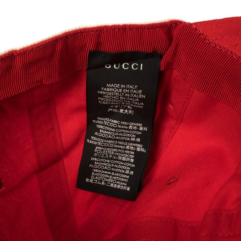 Gucci Red/Off White Canvas Logo Band Baseball Cap M For Sale 2