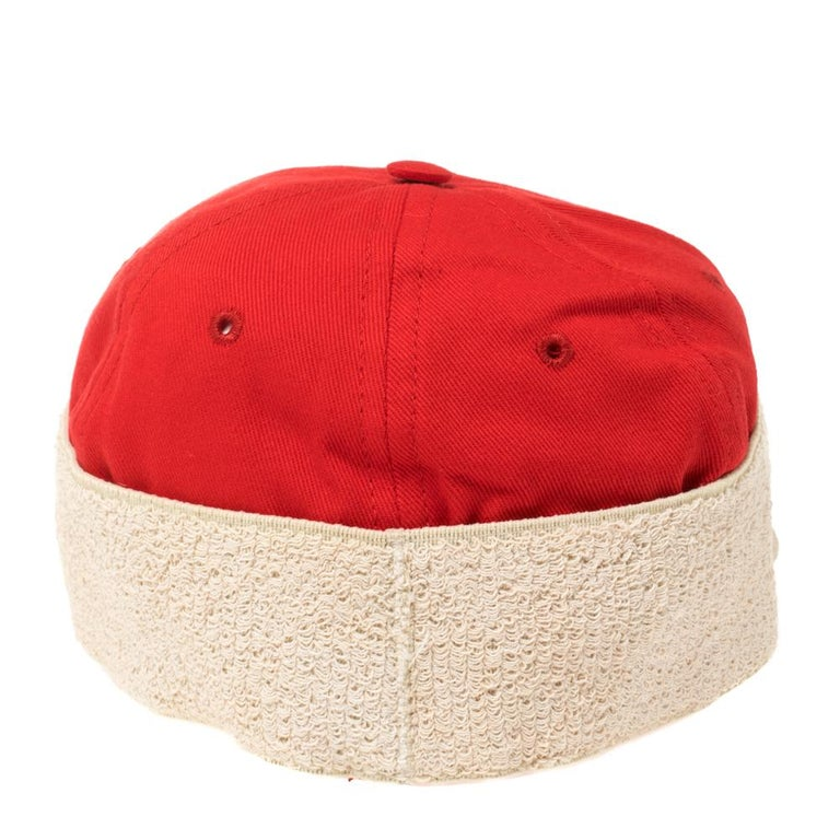 Gucci Red/Off White Canvas Logo Band Baseball Cap M For Sale 3