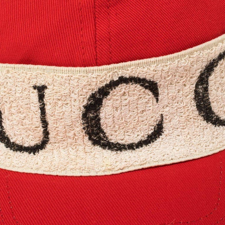 Gucci Red/Off White Canvas Logo Band Baseball Cap M For Sale 4