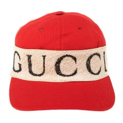 Gucci Red/Off White Canvas Logo Band Baseball Cap M