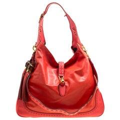 Gucci Red Orange Leather Large New Jackie Shoulder Bag