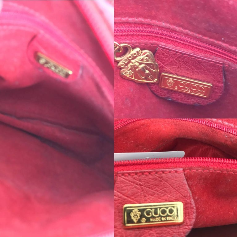 Gucci red ostrich cross body bag 1980s  For Sale 6