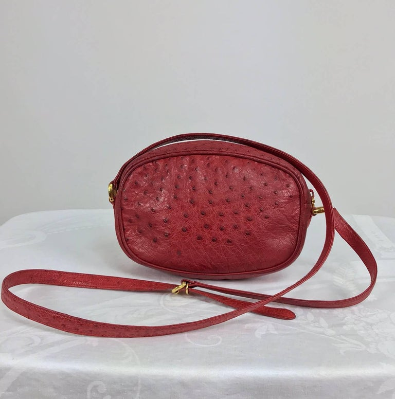Women's Gucci red ostrich cross body bag 1980s  For Sale