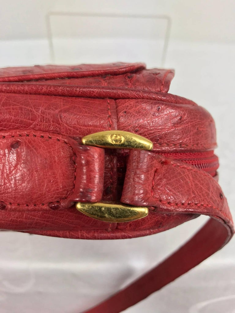 Gucci red ostrich cross body bag 1980s  For Sale 2