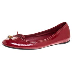Gucci Red Patent Leather Bamboo Bow Ballet Flats Size 39.5