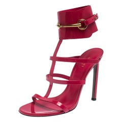 Gucci Red Patent Leather Ursula Horsebit Gladiator Sandals Size 39