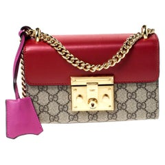 Gucci Red/Pink Leather and GG Supreme Monogram Canvas Small Padlock Shoulder Bag