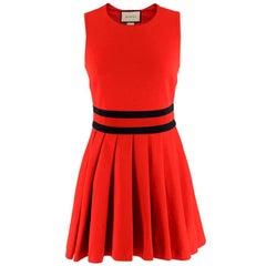 Gucci Red Pleated Gabardine Mini Dress XS
