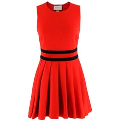 Gucci Red Pleated Gabardine Mini Dress XS