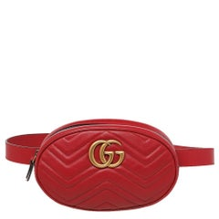 Gucci Red Quilted Leather GG Marmont Belt Bag