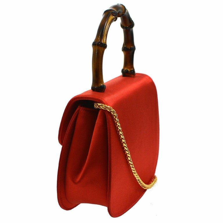 Gucci Red Satin Bamboo Gold Chain Kelly Mini Top Handle Satchel Evening Bag  In Good Condition For Sale In Chicago, IL