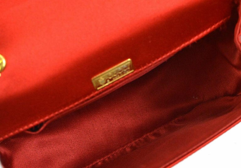 Gucci Red Satin Bamboo Gold Chain Kelly Mini Top Handle Satchel Evening Bag  For Sale 2