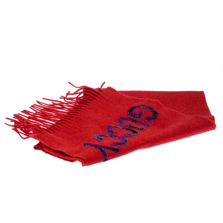 Gucci Red Sequin Applique Detail Silk And Cashmere Scarf For Sale 1