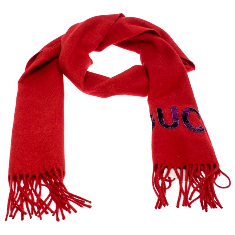 Gucci Red Sequin Applique Detail Silk And Cashmere Scarf For Sale