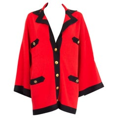 GUCCI red silk & cotton ANCHOR PATCH Cardigan Sweater S