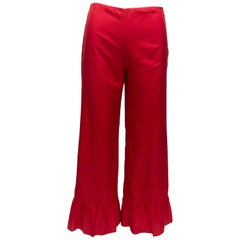 Gucci Red Silk Ruffle-Trimmed Pants