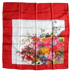 Gucci RED Silk Scarf Floral Flower Motif,  Never worn 1990s