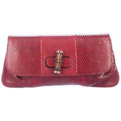 Gucci Red Snakeskin Exotic Bamboo Evening Foldover Envelope Flap Clutch Bag