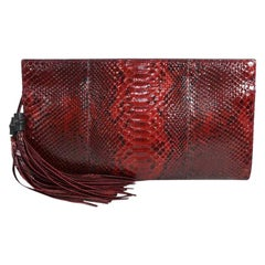 Gucci Red Snakeskin Exotic Leather Envelope Evening Flap Clutch Bag