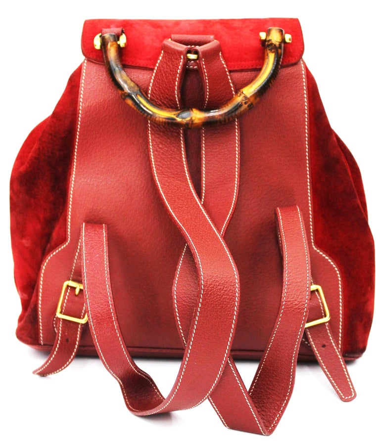 3123cf23b5b3 Gucci Red Suede Backpack In Excellent Condition For Sale In Torre Del  Greco