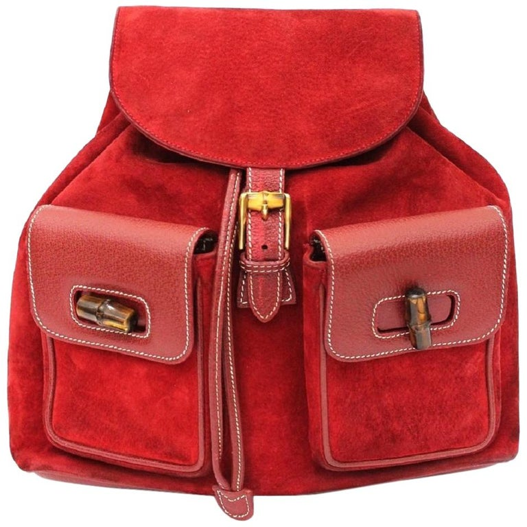 Gucci Red Suede Backpack For Sale at 1stdibs