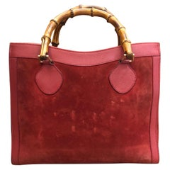 GUCCI Burgundy Suede Leather Bamboo Tote Princess Diana Tote