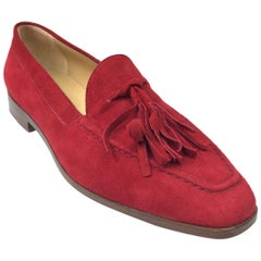 Gucci Red Suede Tassel Loafer - 6
