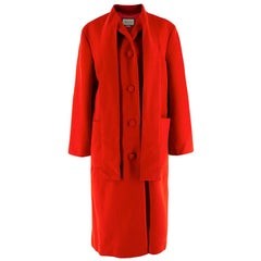 Gucci Red Tie Collar Longline Wool Coat 40