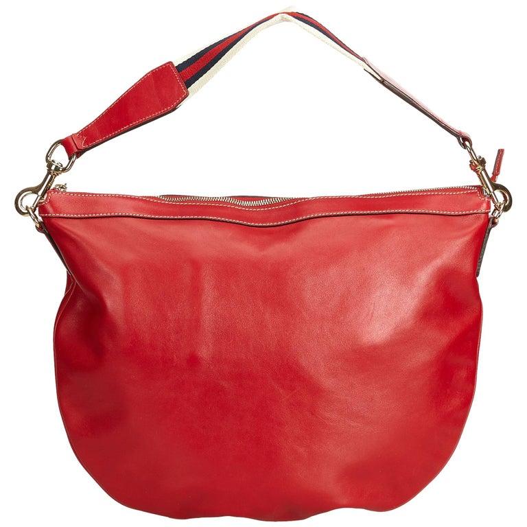 e753b115680 Gucci Red Web Leather Shoulder Bag at 1stdibs