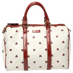 Gucci Red/White Coated Canvas and Patent Leather Medium Heart Joy Boston Bag