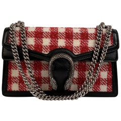 Gucci Red White Vichy Check Dionysus Small Tweed Shoulder Bag