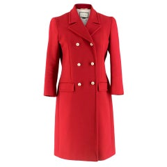Gucci Red Wool Double Breasted Coat With Pearl Buttons XS IT40