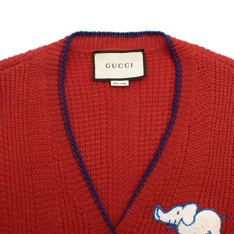 Women's or Men's Gucci Red Wool Red Elephant Patch Cardigan XS For Sale