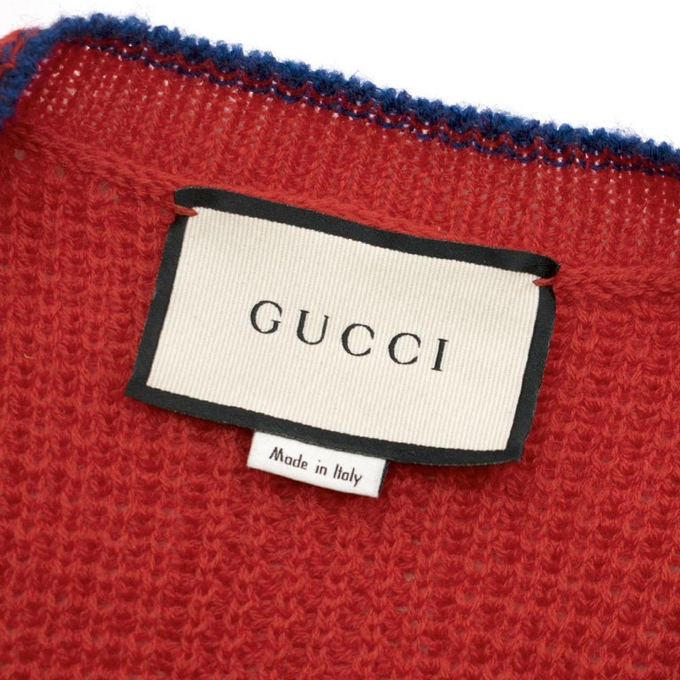 Gucci Red Wool Red Elephant Patch Cardigan XS For Sale 1