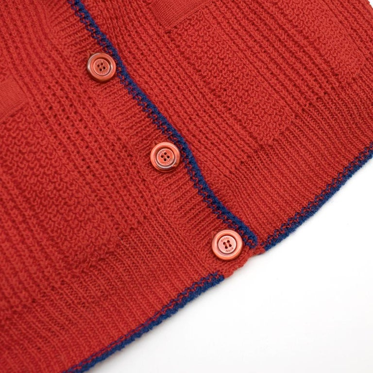 Gucci Red Wool Red Elephant Patch Cardigan XS For Sale 3