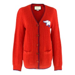 Gucci Red Wool Red Elephant Patch Cardigan XS