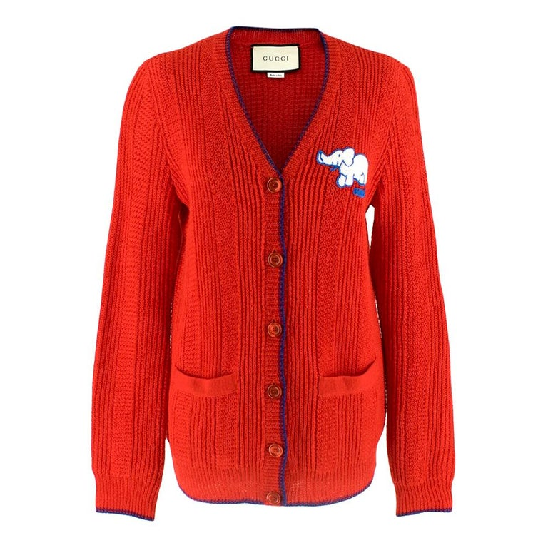 Gucci Red Wool Red Elephant Patch Cardigan XS For Sale