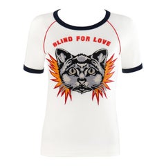 "GUCCI Resort 2017 ""Blind for Love"" Embroidered Cat Patch Jersey T-Shirt Top"