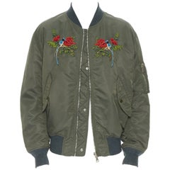 GUCCI Reversible green nylon swallow embroidered MA-1 padded bomber jacket IT48