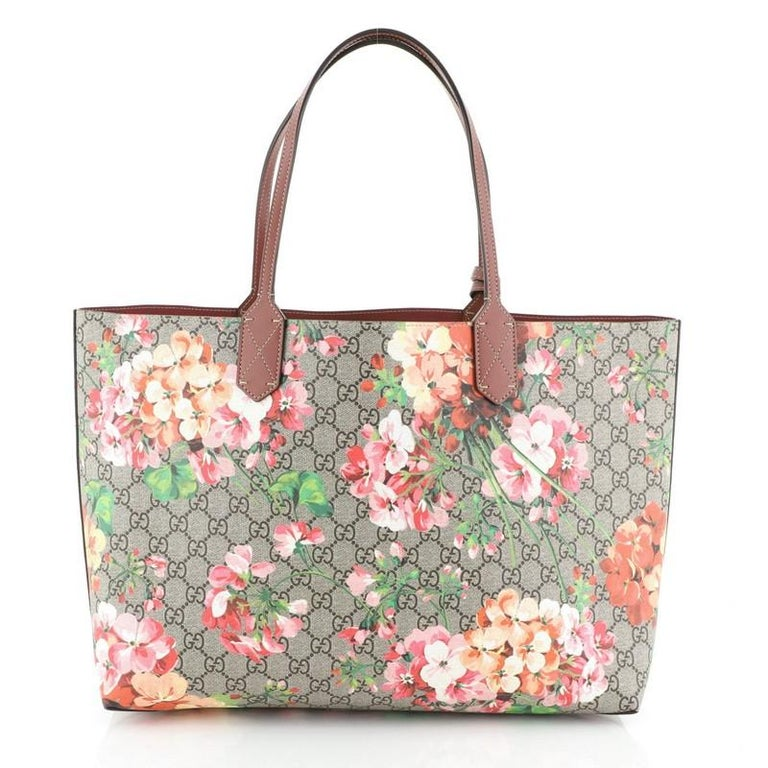 Beige Gucci Reversible Tote Blooms GG Print Leather Medium For Sale
