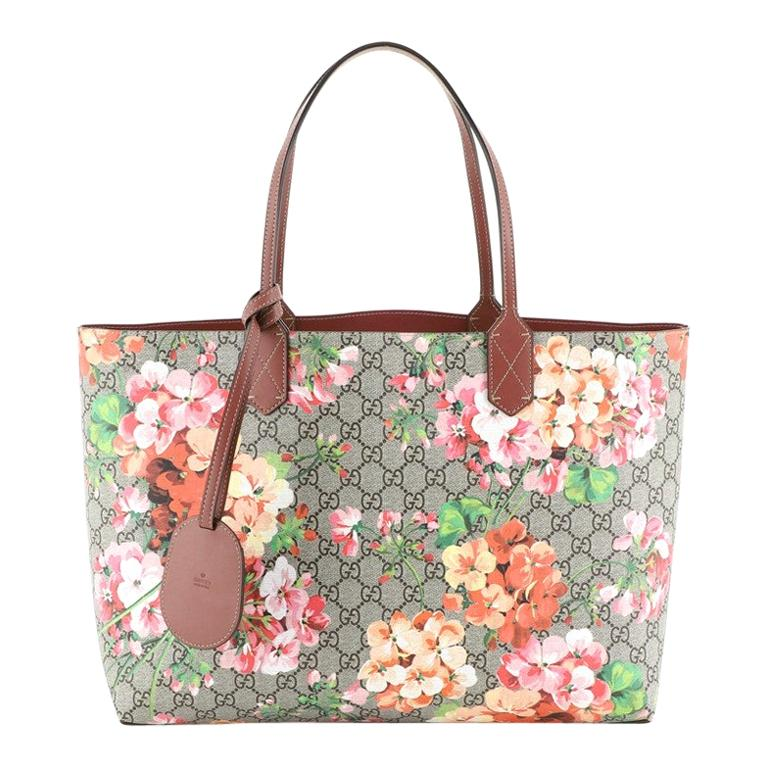Gucci Reversible Tote Blooms GG Print Leather Medium For Sale
