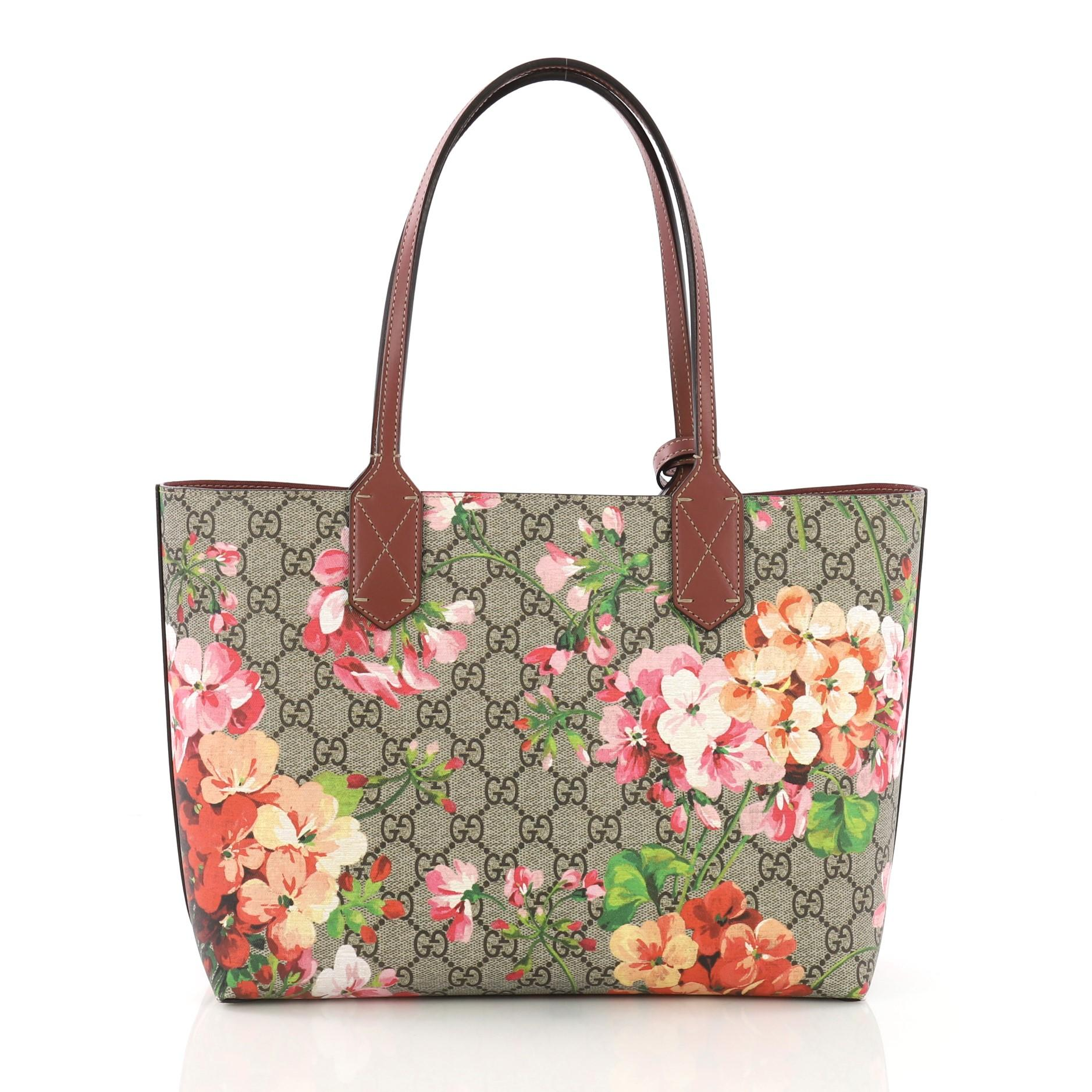 88090654388 Gucci Reversible Tote Blooms GG Print Leather Small at 1stdibs