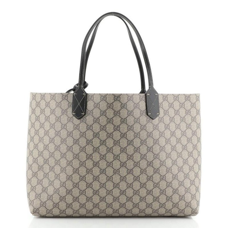 Gray Gucci Reversible Tote GG Print Leather Large
